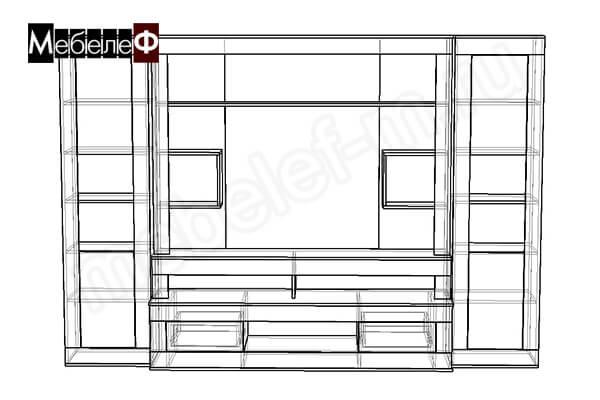 """Стенка для гостиной """"Мебелеф-8"""" чертеж"""