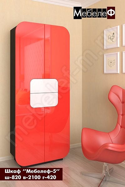 """Шкаф """"Мебелеф-5"""" красно-белый"""