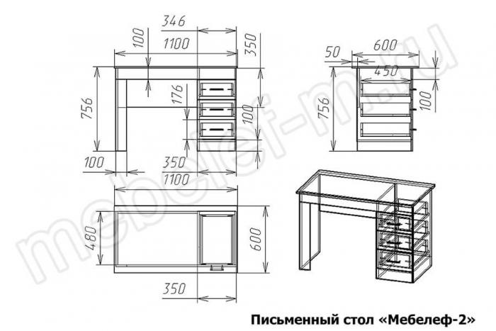 Письменный стол Мебелеф 2 Размеры