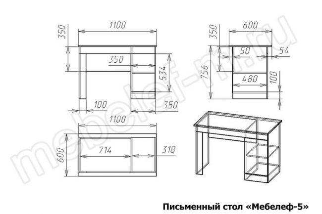 Письменный стол Мебелеф 5 Размеры