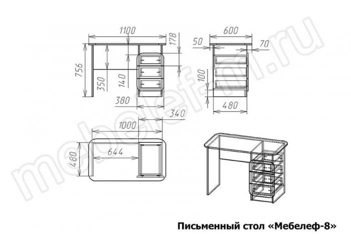 Письменный стол Мебелеф 8 Размеры