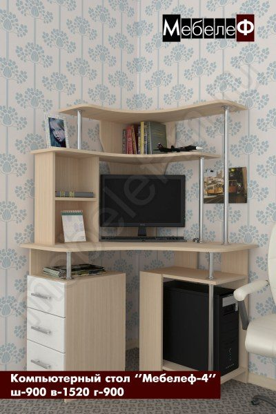 компьютерный стол Мебелеф 4 белый