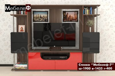 """Стенка для гостиной """"Мебелеф-7"""" красно-черная"""