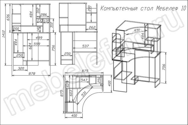 "Компьютерный стол ""Мебелеф 10"" чертеж"