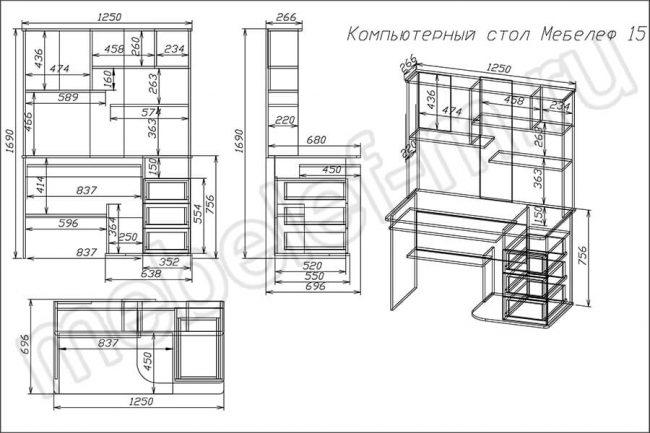"Компьютерный стол ""Мебелеф 15"" чертеж"