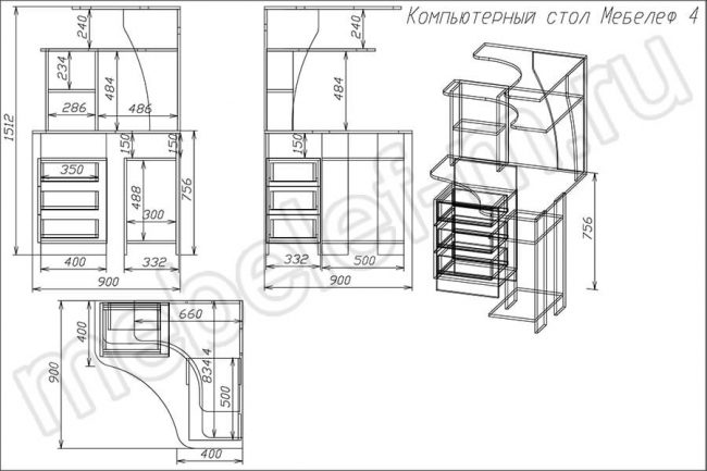 "Компьютерный стол ""Мебелеф 4"" чертеж"