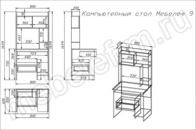 "Компьютерный стол ""Мебелеф 9"" чертеж"
