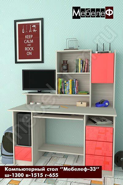 """Компьютерный стол """"Мебелеф-33"""" красный"""