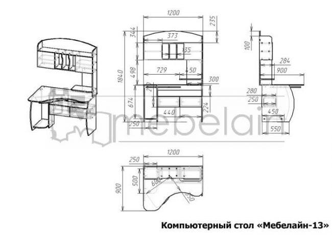 размеры компьютерного стола Мебелайн-13
