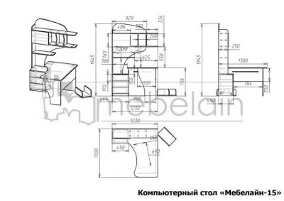 размеры компьютерного стола Мебелайн-15