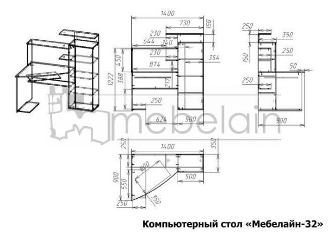 размеры компьютерного стола Мебелайн-32