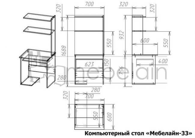 размеры компьютерного стола Мебелайн-33