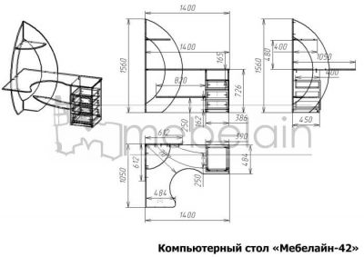 размеры компьютерного стола Мебелайн-42