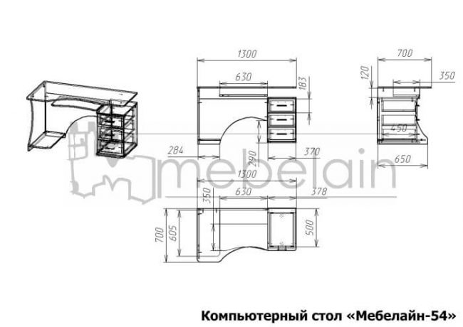 размеры компьютерного стола Мебелайн-54