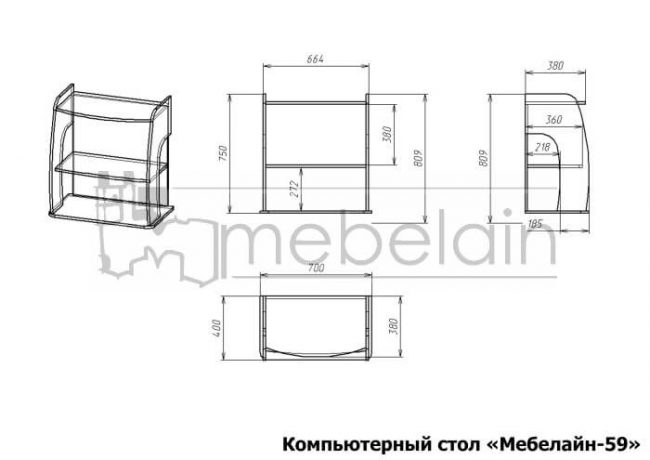 размеры компьютерного стола Мебелайн-59