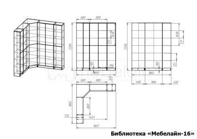 размеры книжного шкафа Мебелайн-16