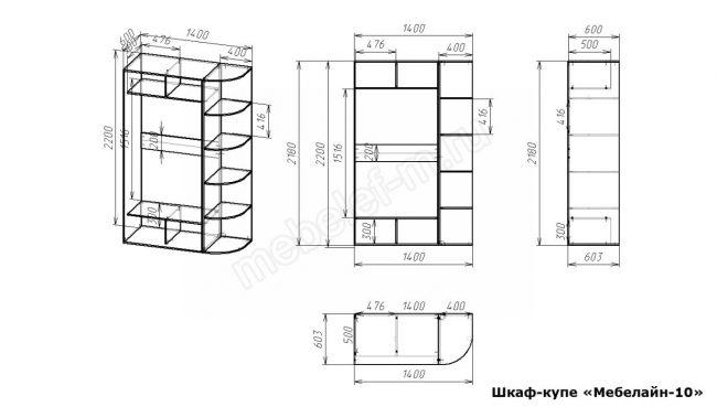 Шкаф купе Мебелайн 10 размеры
