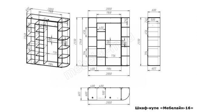 Шкаф купе Мебелайн 16 размеры