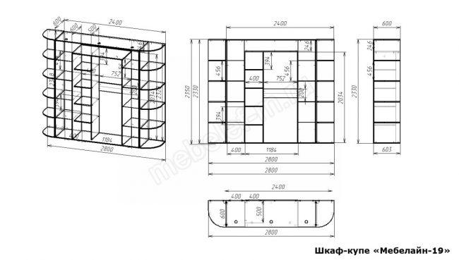Шкаф купе Мебелайн 19 размеры