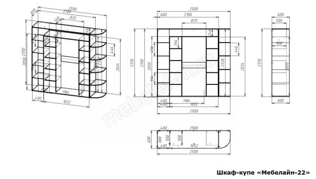 Шкаф купе Мебелайн 22 размеры