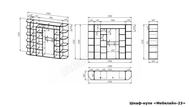 Шкаф купе Мебелайн 23 размеры