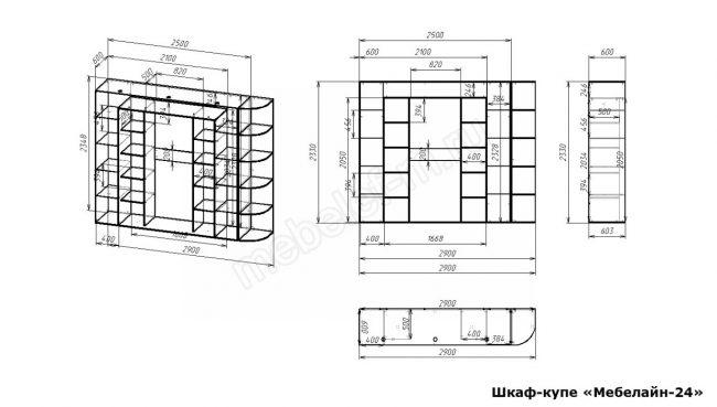Шкаф купе Мебелайн 24 размеры
