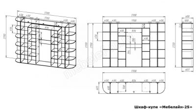 Шкаф купе Мебелайн 25 размеры