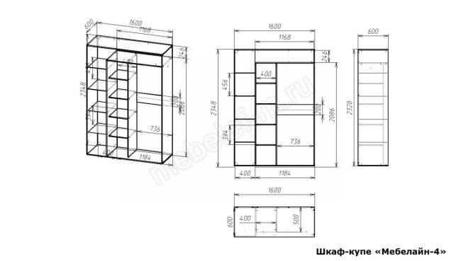 Шкаф купе Мебелайн 4 размеры