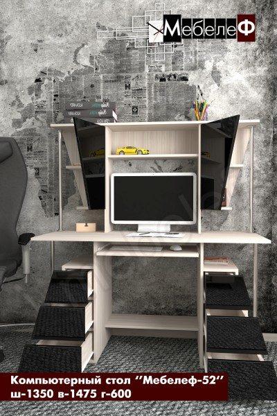 компьютерный стол Мебелеф-52 черный