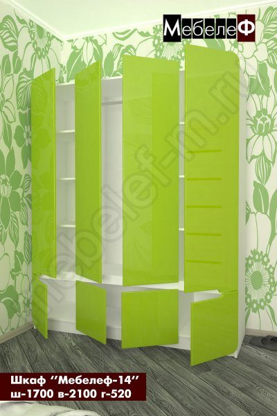 шкаф трехстворчатый Мебелеф-14 зеленый открытый