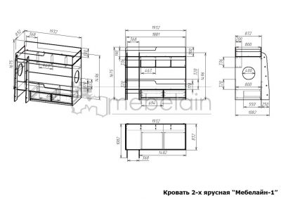 размеры двухъярусной кровати Мебелайн-1