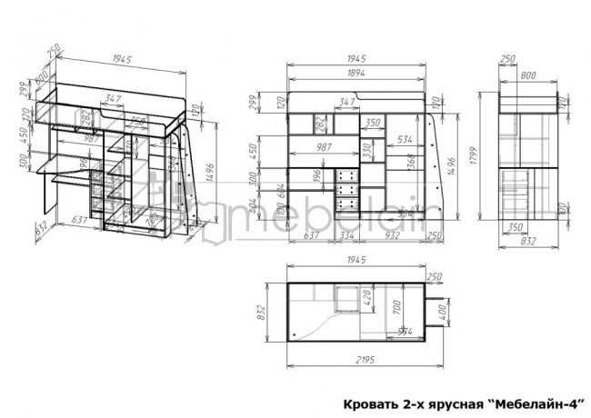 размеры двухъярусной кровати Мебелайн-4