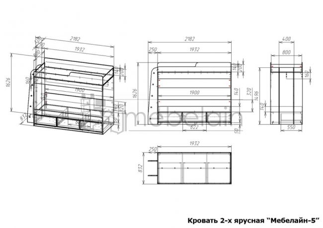 размеры двухъярусной кровати Мебелайн-5