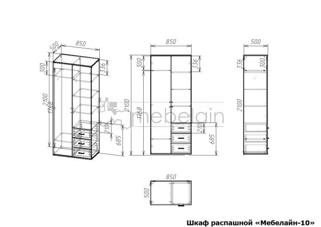 размеры распашного шкафа Мебелайн-10