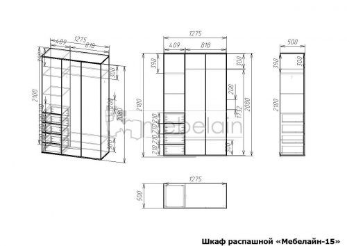 размеры распашного шкафа Мебелайн-15
