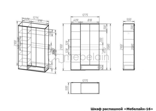 размеры распашного шкафа Мебелайн-16