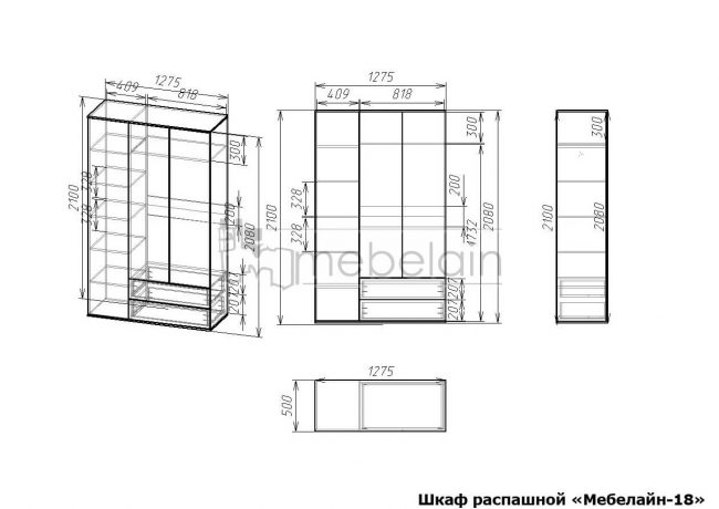 размеры распашного шкафа Мебелайн-18