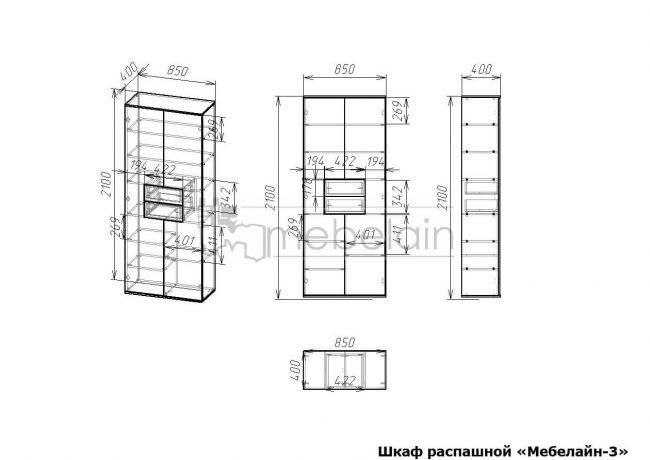 размеры распашного шкафа Мебелайн-3