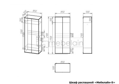 размеры распашного шкафа Мебелайн-5