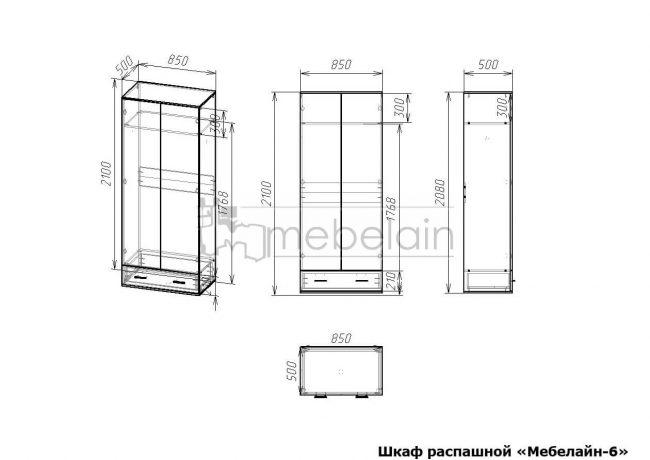 размеры распашного шкафа Мебелайн-6