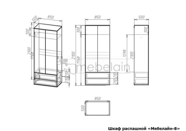 размеры распашного шкафа Мебелайн-8