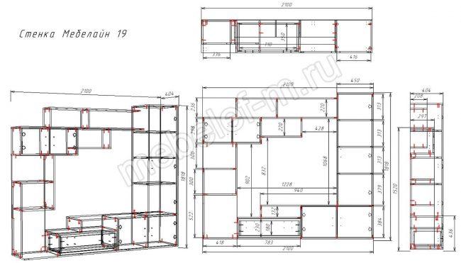 Чертеж стенки Мебелайн 19