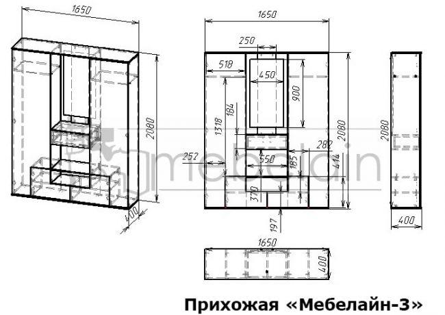 размеры прихожей Мебелайн-3