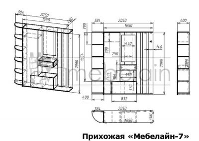 размеры прихожей Мебелайн-7