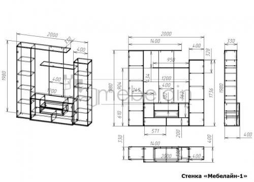 размеры стенки Мебелайн-1