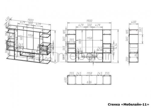размеры стенки Мебелайн-11