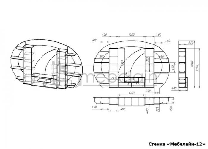 размеры стенки Мебелайн-12