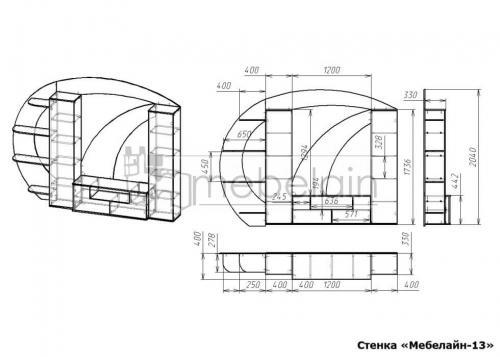 размеры стенки Мебелайн-13