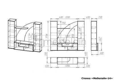 размеры стенки Мебелайн-14