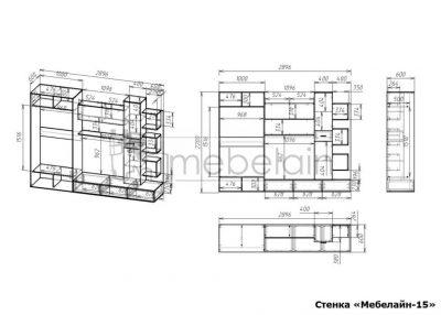 размеры стенки Мебелайн-15